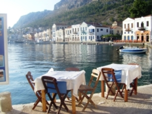 Kastellorizo outside the restaurant